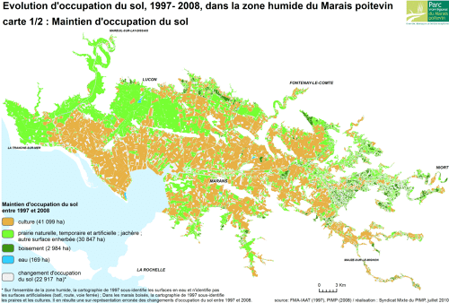 Evolution d'occupation du sol, 1997-2008, dans la zone humide du Marais poitevin - Carte 1/2: maintien d'occupation du sol